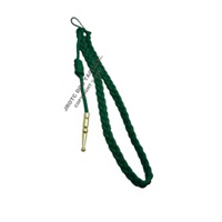 Kelly Green with Gold (brass) tip- Lanyard Fourragere with Tip (Button Loop) (Each)