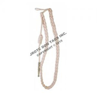 White cord with Silver tip - Lanyard Fourragere with Tip (Button Loop) (Each)